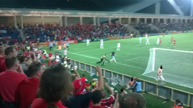 andorra v wales pitch invasion