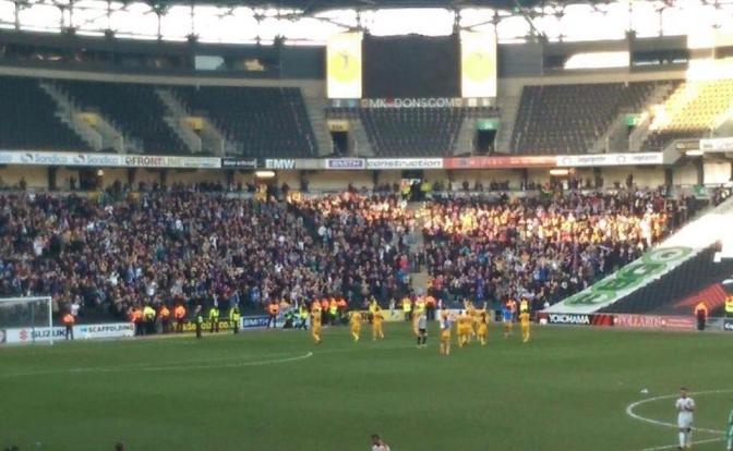 Preston fans at MK Dons 7mar15