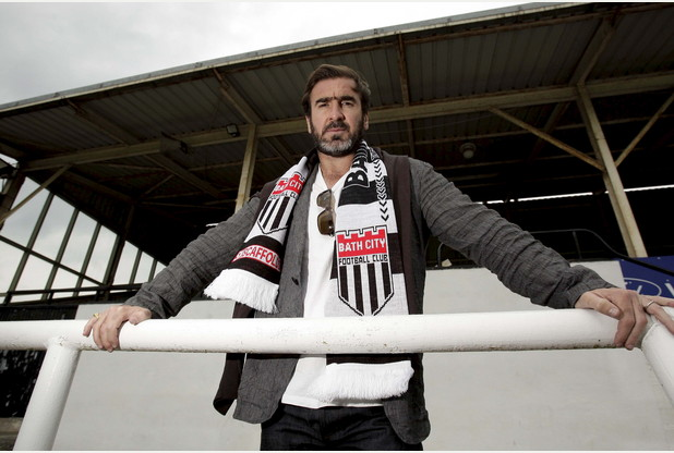 Former Manchester United and France footballing legend Eric Cantona visits Bath City FC to help raise money for the football minnows. Bath City chairman and film director Ken Loach invited Eric to the club after working with him on 'Finding Eric', June 6 2009.