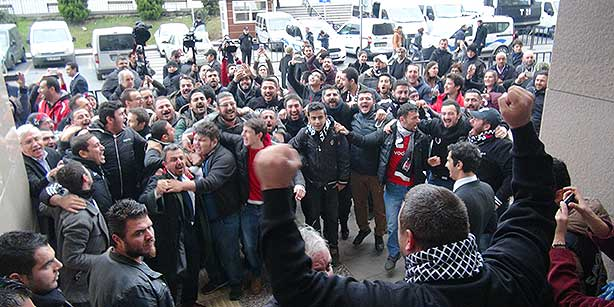 Çarşı members celebrate the court decision in front of Çağlayan Courthouse
