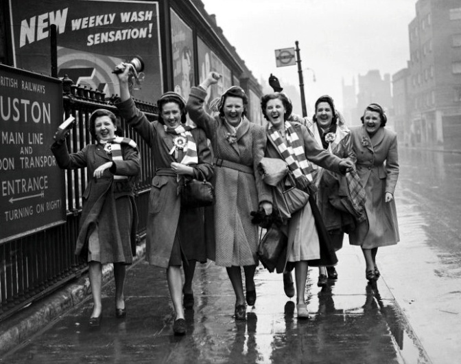 Liverpool fans on the way to Wembley 1950