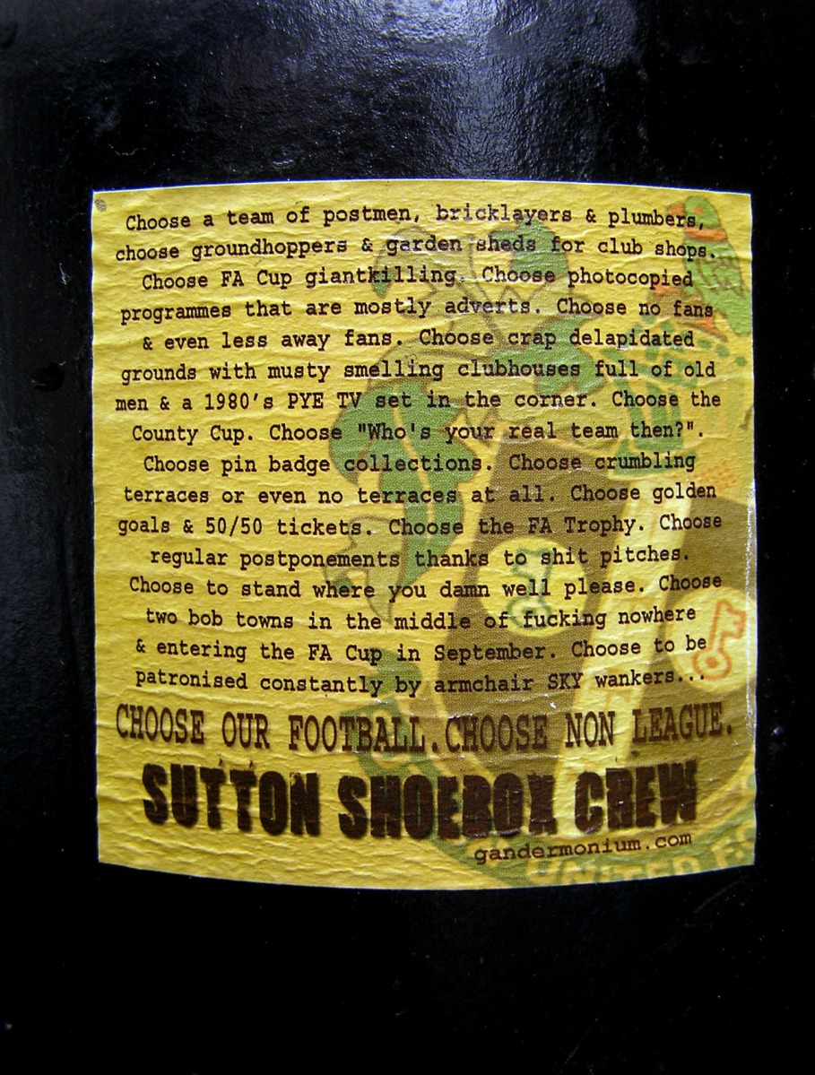 Sutton Shoebox Crew - against sober football